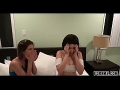 Stepbrother blackmail stepsister and her lesbian friend