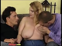 busty bbw german babe picked up for her first threesome