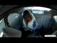 Hot Angelina gets fucked outside of the car and receives a hot cumshot