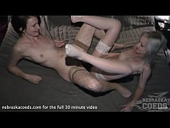 samanta and sonja taking turns strapon bang to double ended dildo
