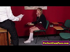 Naugty pigtail student cocksucks teacher pov