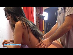 Delicious dark haired teen pounded hard in doggy style