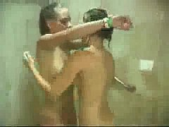 Bathing lesbians girlfriends shaving and making out