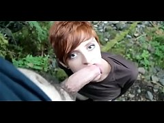 RyAnne Redd - busty redhead gives an outdoor blowjob