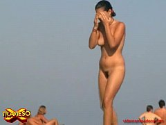 3 young pretty girls on Ibiza's nude beach