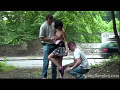 Petite little cutie fucked in PUBLIC street threesome by 2 guys with big dicks