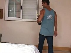 Muscular latino hunk gets woken up for blowjob and ass fucking