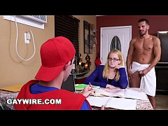 GAYWIRE - Step Dad Helps His Son Study, Gets Caught By Mom