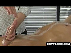 Horny restrained hunk getting his hard cock tugged