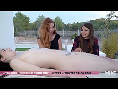 Talia Mint sets up a birthday meal on Amber Nevada's body for her redhead girlfriend to enjoy