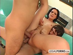 Hot brunette double-penetrated by two big cocks HC-11-01
