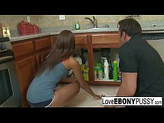 Tall brunette Jordin Skye has interracial sex in the kitchen