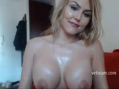 Horny blonde MILF show her big boobs and sexy body