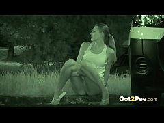 Caught Pissing On Night Vision CCTV