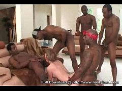 6 Black Guys And 1 White Chick - Gangbang - Interracial Hardcore Fucking