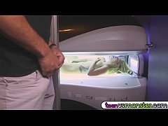 Rikkis teen pussy drilled on tanning bed
