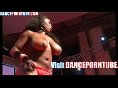 black stripper dancing nude on stage