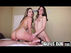 Mofos - Pervs On Patrol - Two Sexy Brunettes Share a Cock starring Riley Reid and Kimmy Granger