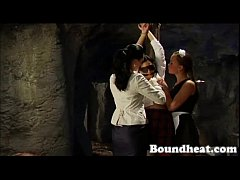 Bounded and punished lesbian slave scene