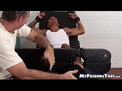Bound tattooed guy tickled by mature homosexual weirdo
