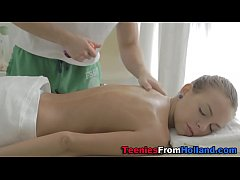 Tiny teen spunks masseur