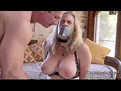 Tied up busty Milf and teen fucked