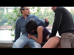 PUBLIC sex busty teen gangbang by 2 guys on the...