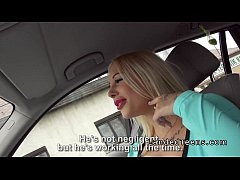 Big fake boobs blonde teen bangs in car