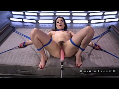 hairy babe in ropes fucking machine