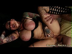 Tattooed witch rides dick