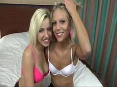 2 Blonde Sisters One Cock Get Fucked
