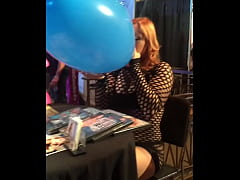 Edyn Blair blows up a giant balloon