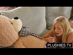 Blonde model Sicilia and Kira Queen sex with teddy bear[Part 1]