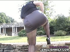 Seamed pantyhose ass short skirt outdoor public upskirt