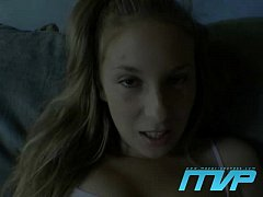 Pigtailed blonde teen masturbates