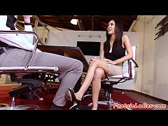 Bigtits babe footworshiped in the office
