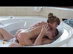 ORGASMS Hot firm ass on happy tiny teen sensual young love in the hot tub