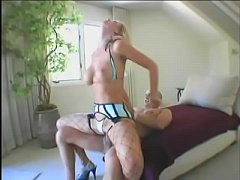 Sexy busty blonde in fishnets Dasha takes bald dude's thick cock up her ass