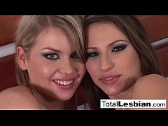 European lesbians get naughty with a black strap-on