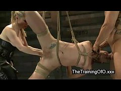 Tied up suspended blonde tortured and fisted and throat fucked