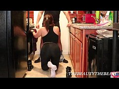 White Ankle Socks Fetish In Yoga Pants Blowjob In The Kitchen!