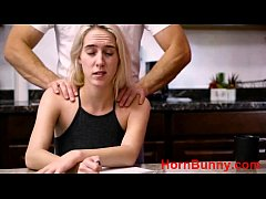 Cadence Lux in father gives daughter a massage