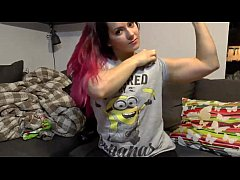 Muscular Girl Flexing Her Big Biceps