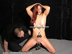 Extreme pussy tortures and nipple clamps of debutant amateur slaveslut Chaos