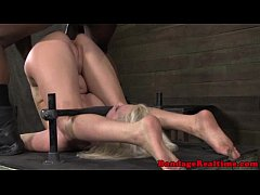 BDSM sub fucked on punishment bench