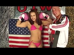 Boxing Babe vs man in Belly Punching Boxing match