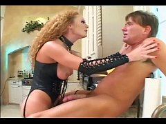 Femdom fucking in leather and fishnet stockings