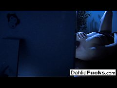 Sexy Dahlia fingers herself in the dark