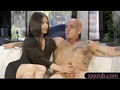 Nasty brunette babe Lacey Channing gives masculine tattooed guy a relaxing backrub before getting her shaved coochie smashed so hard on the couch