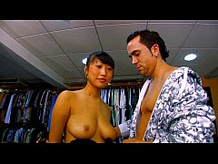 Busty asian babe Sharon Lee fucked in her shop